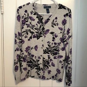 Karen Scott Flowered Cardigan